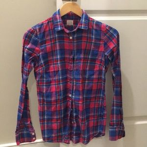 J.Crew factory XXS pink/blue flannel button down